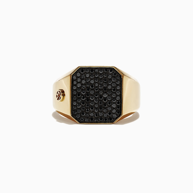 Effy Men's 14K Yellow Gold Black Diamond Signet Ring, 0.78 TCW