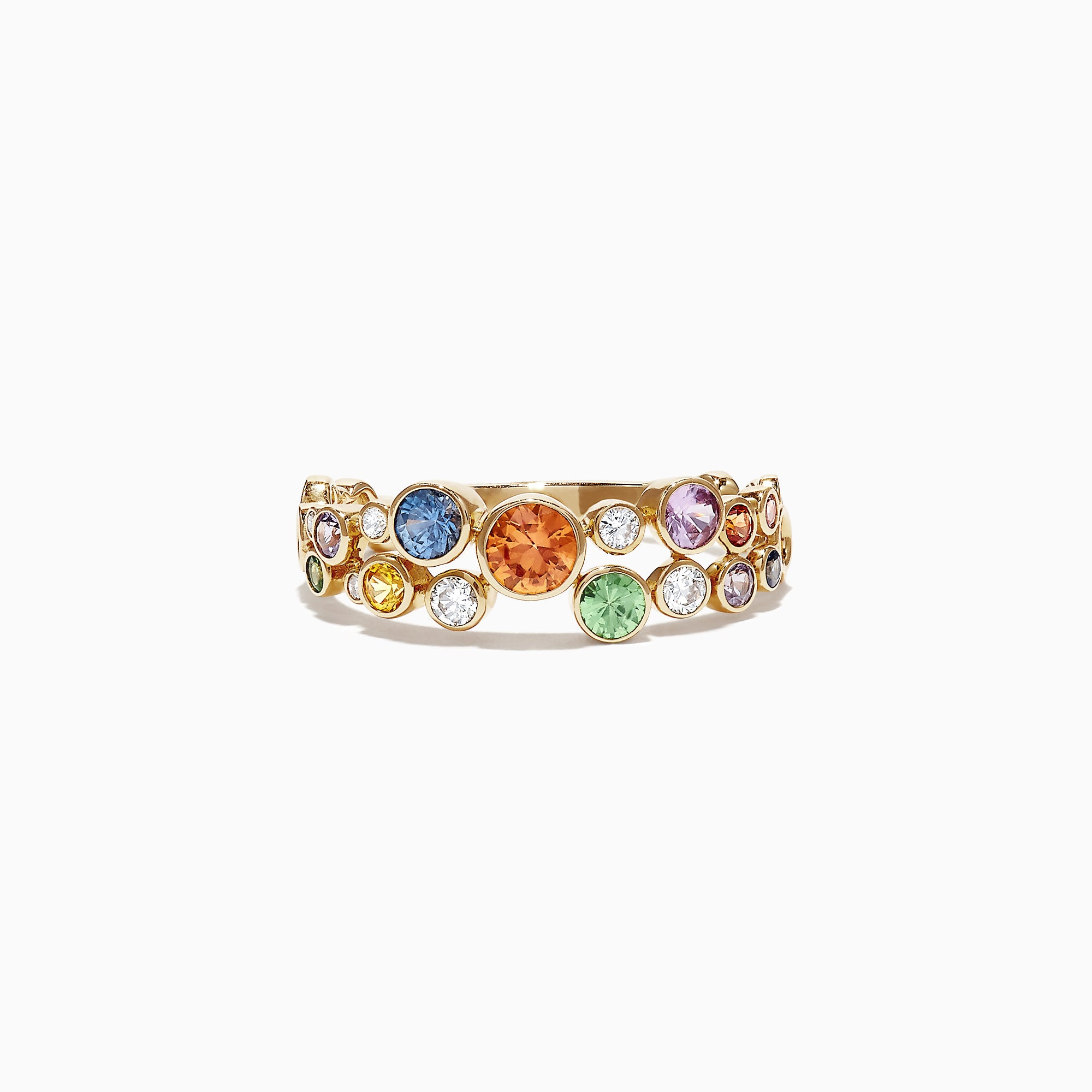 Effy Watercolors 14K Yellow Gold Multi-Sapphire and Diamond Ring, 1.03 TCW
