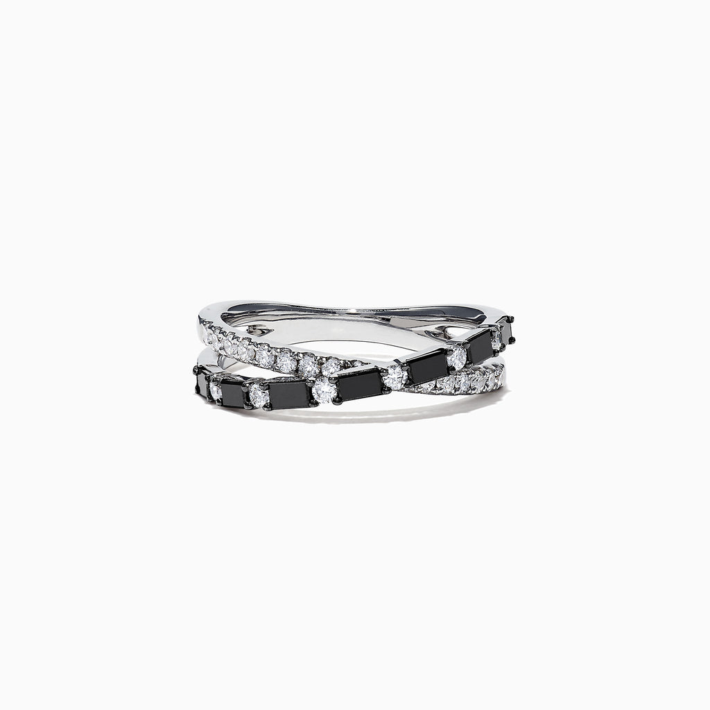 Effy 14K White Gold Black and White Diamond Crossover Ring, 0.77 TCW