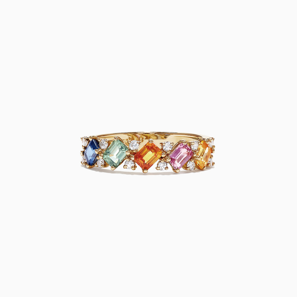 Effy Watercolors 14K Yellow Gold Multi-Sapphire Diamond Ring, 1.52 TCW