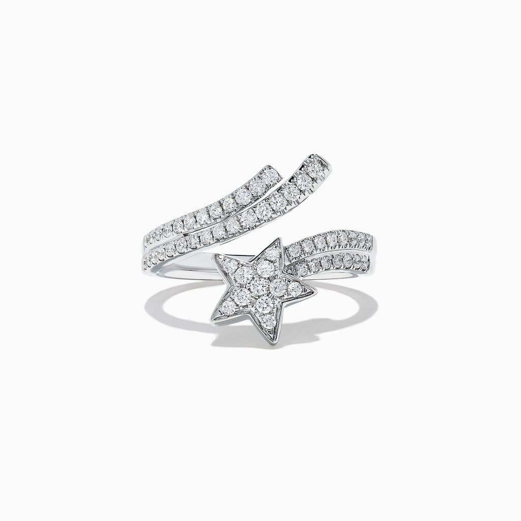 Effy Pave Classica 14K White Gold Diamond Shooting Star Ring, 0.47 TCW