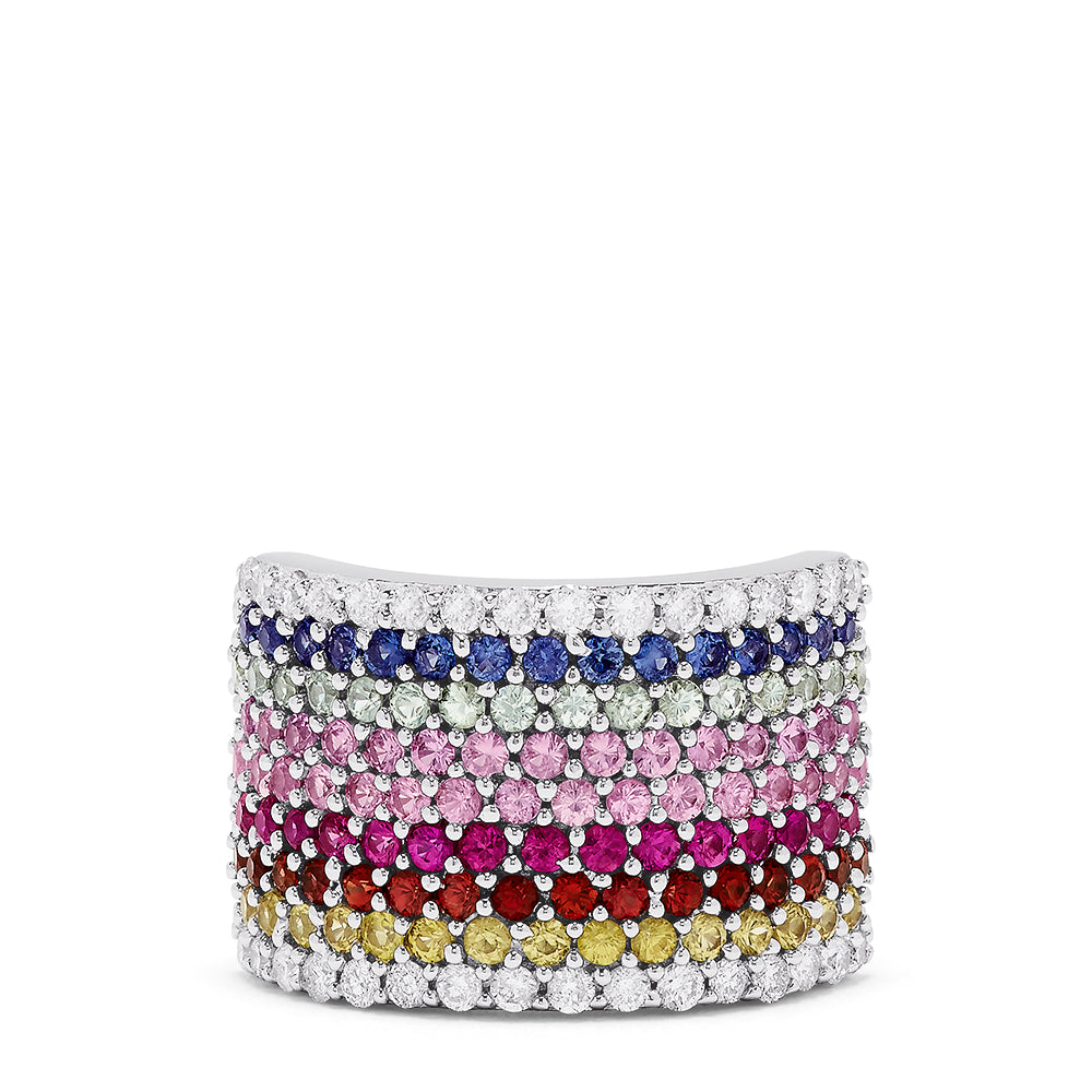 Effy 14K White Gold Multi Sapphire and Diamond Pave Ring, 3.68 TCW
