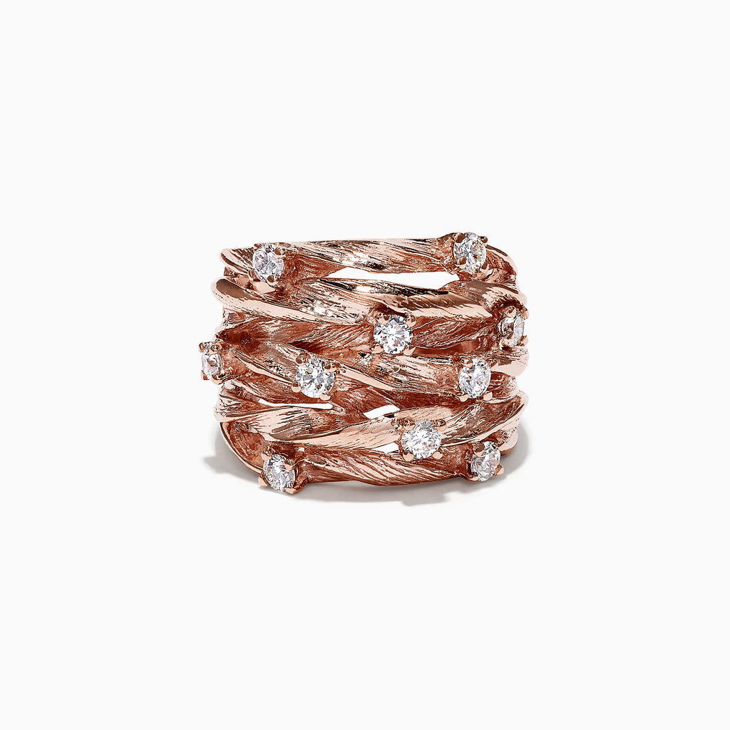 Effy Pave Rose 14K Rose Gold Diamond Ring, 0.98 TCW