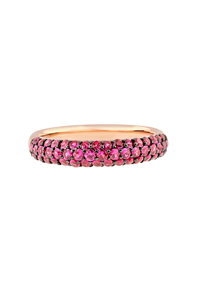 Effy 14K Rose Gold Ruby Pave Ring, 0.77 TCW
