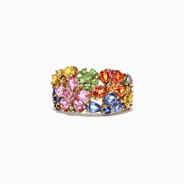 Effy Watercolors 14K Yellow Gold Multi Sapphire Floral Ring, 4.75 TCW