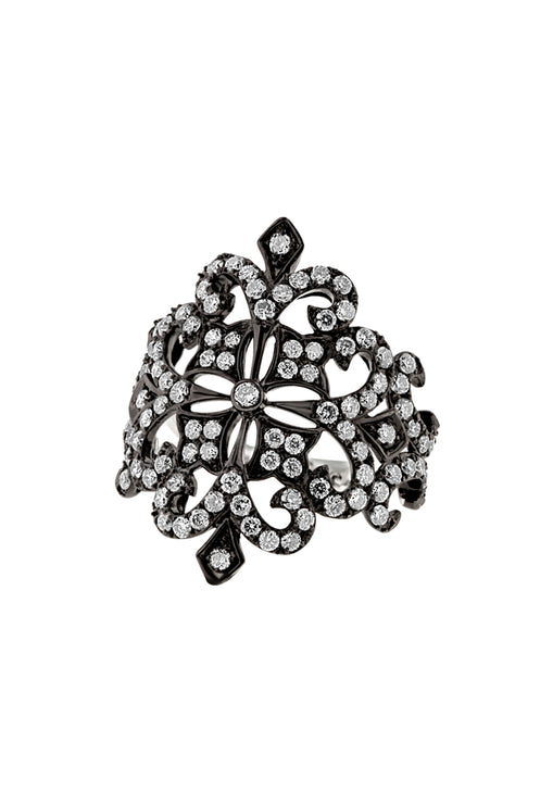 Effy 14K White Gold Black IP Diamond Filigree Ring, 1.24 TCW