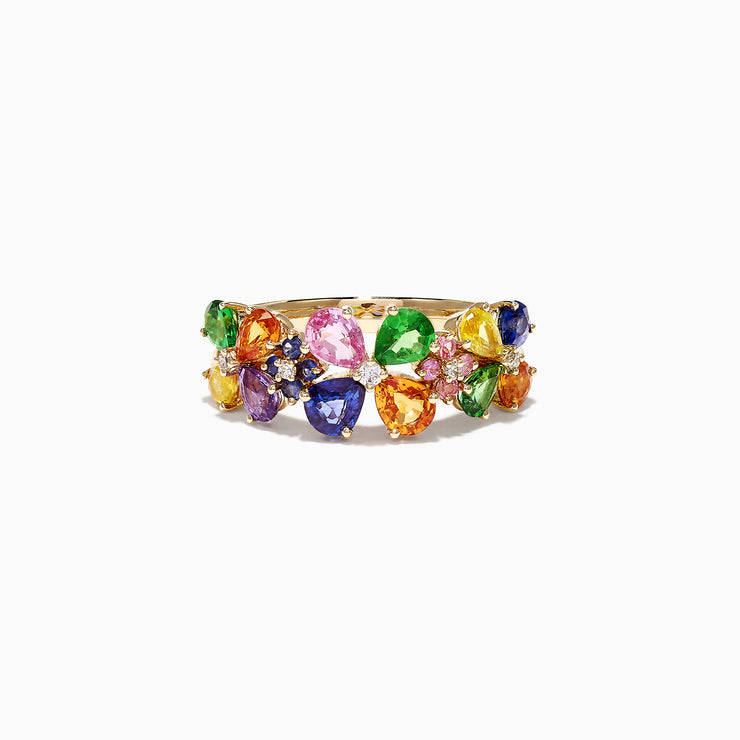 Effy Watercolors 14K Yellow Gold Multi Sapphire & Diamond Ring, 2.43 TCW