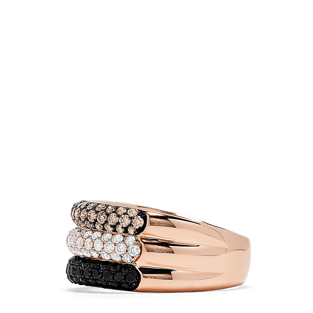 Effy 14K Rose Gold Black, Espresso and White Diamond Ring, 1.70 TCW