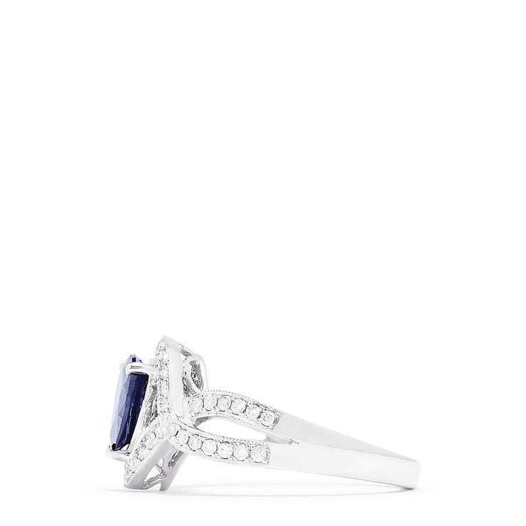 Effy 14K White Gold Pear Cut Sapphire and Diamond Ring, 1.45 TCW
