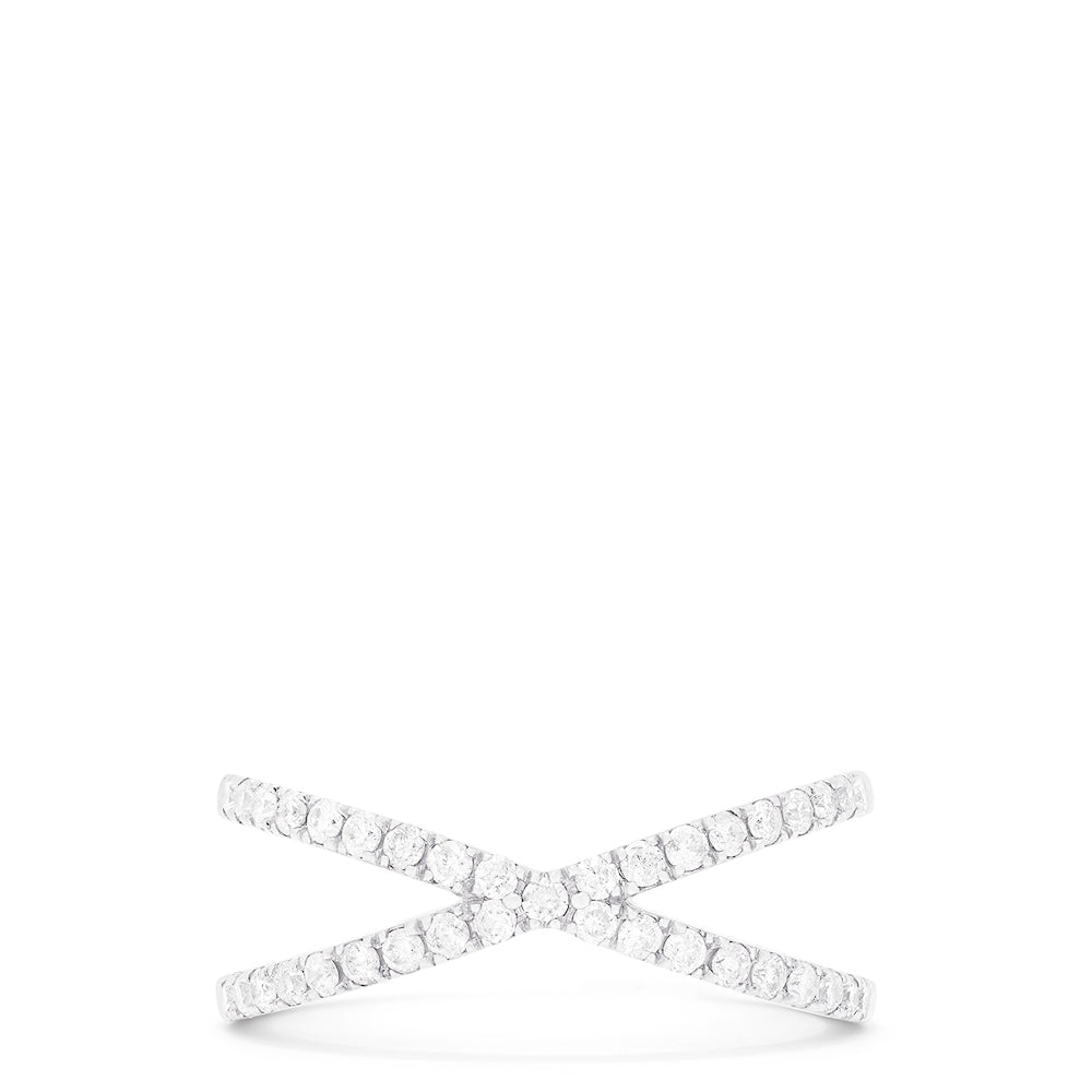 Effy Pave Classica 14K White Gold Diamond Criss Cross Ring, 0.40 TCW