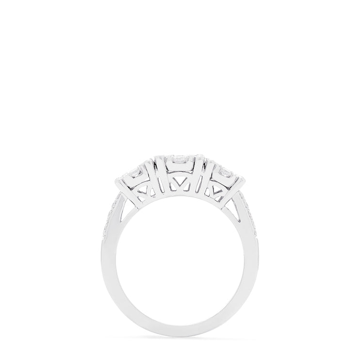 Effy Bouquet 14K White Gold Diamond Clusters Ring, 0.95 TCW