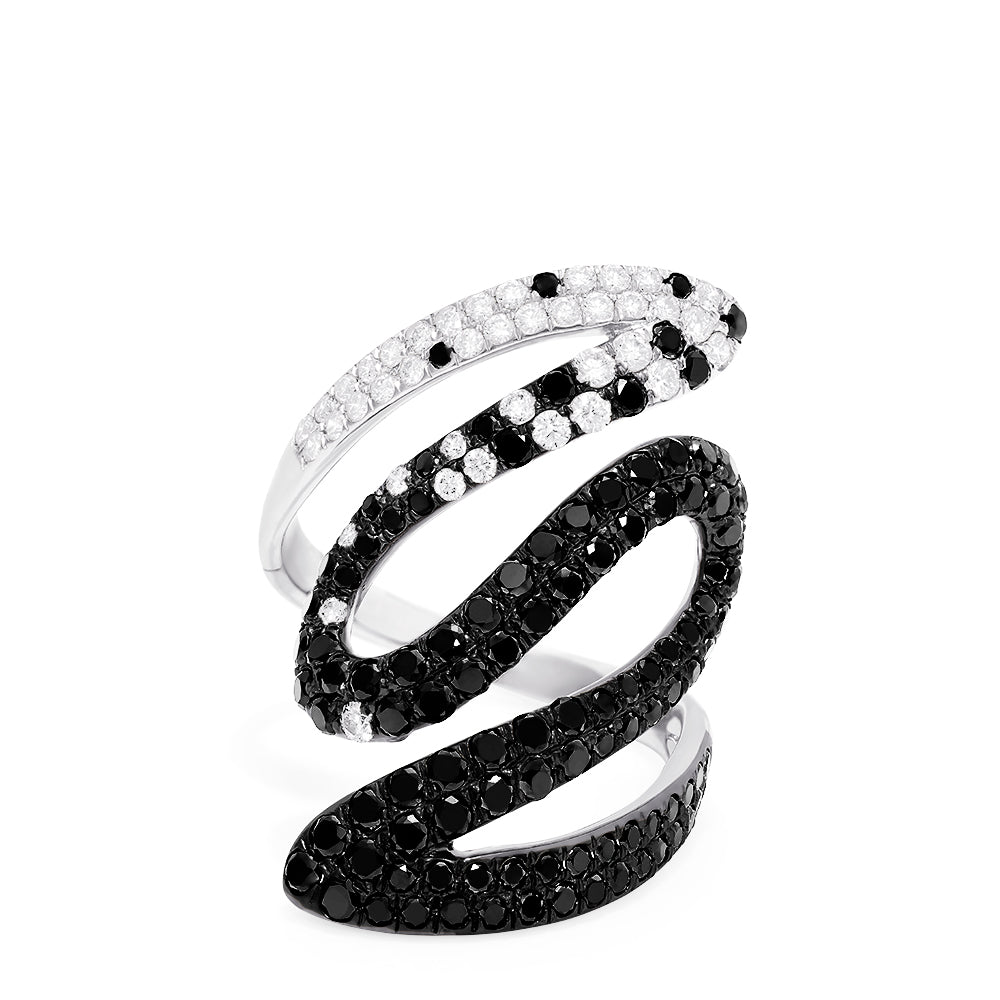 Effy 14K White Gold Black and White Diamond Ring, 2.05