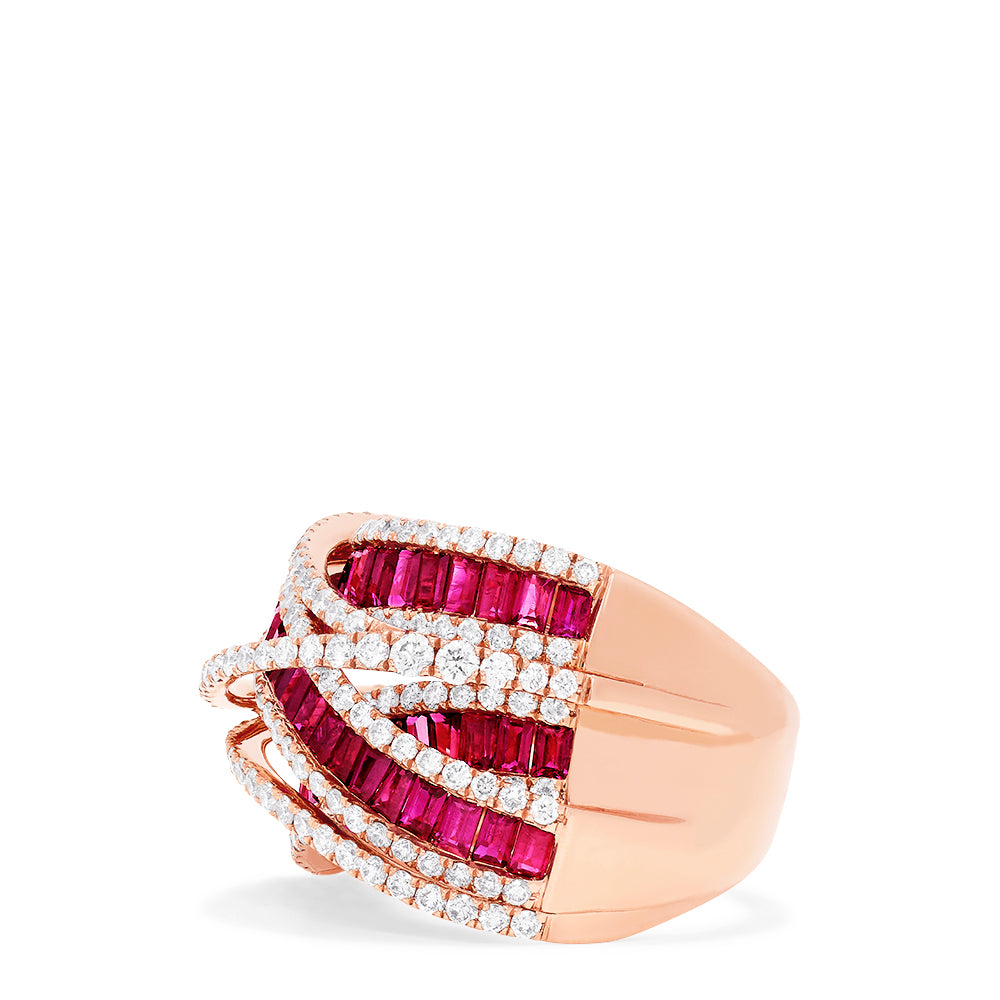 Effy Limited Edition 14K Rose Gold Ruby and Diamond Ring, 4.03 TCW