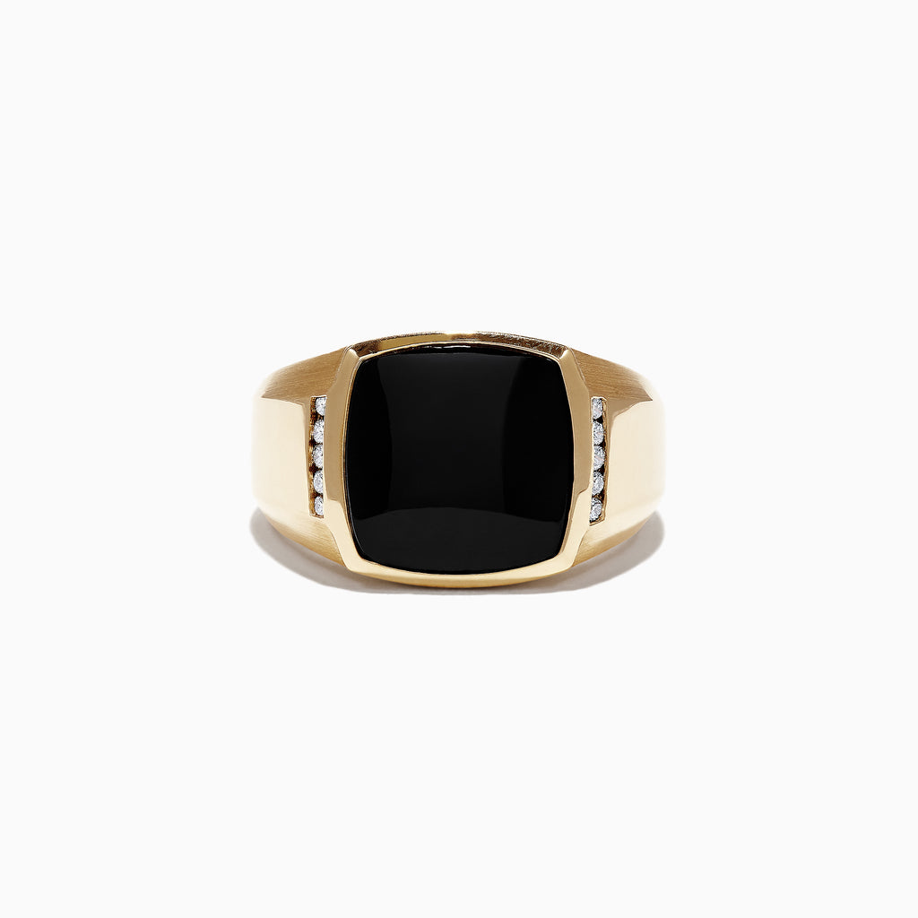 Effy Men's 14K Yellow Gold Black Agate and Diamond Ring, 0.13 TCW