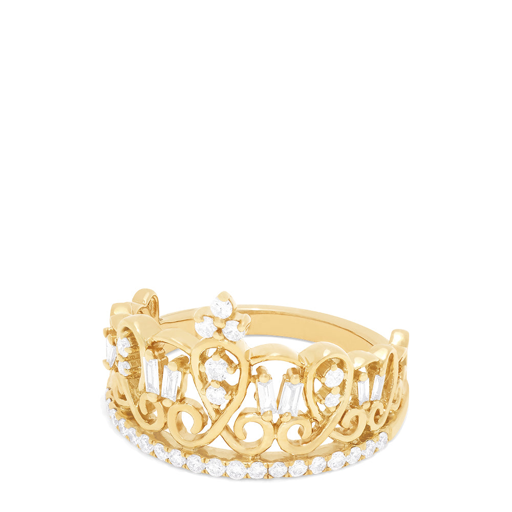 Effy D'Oro 14K Yellow Gold Diamond Accented Crown Ring, 0.41 TCW