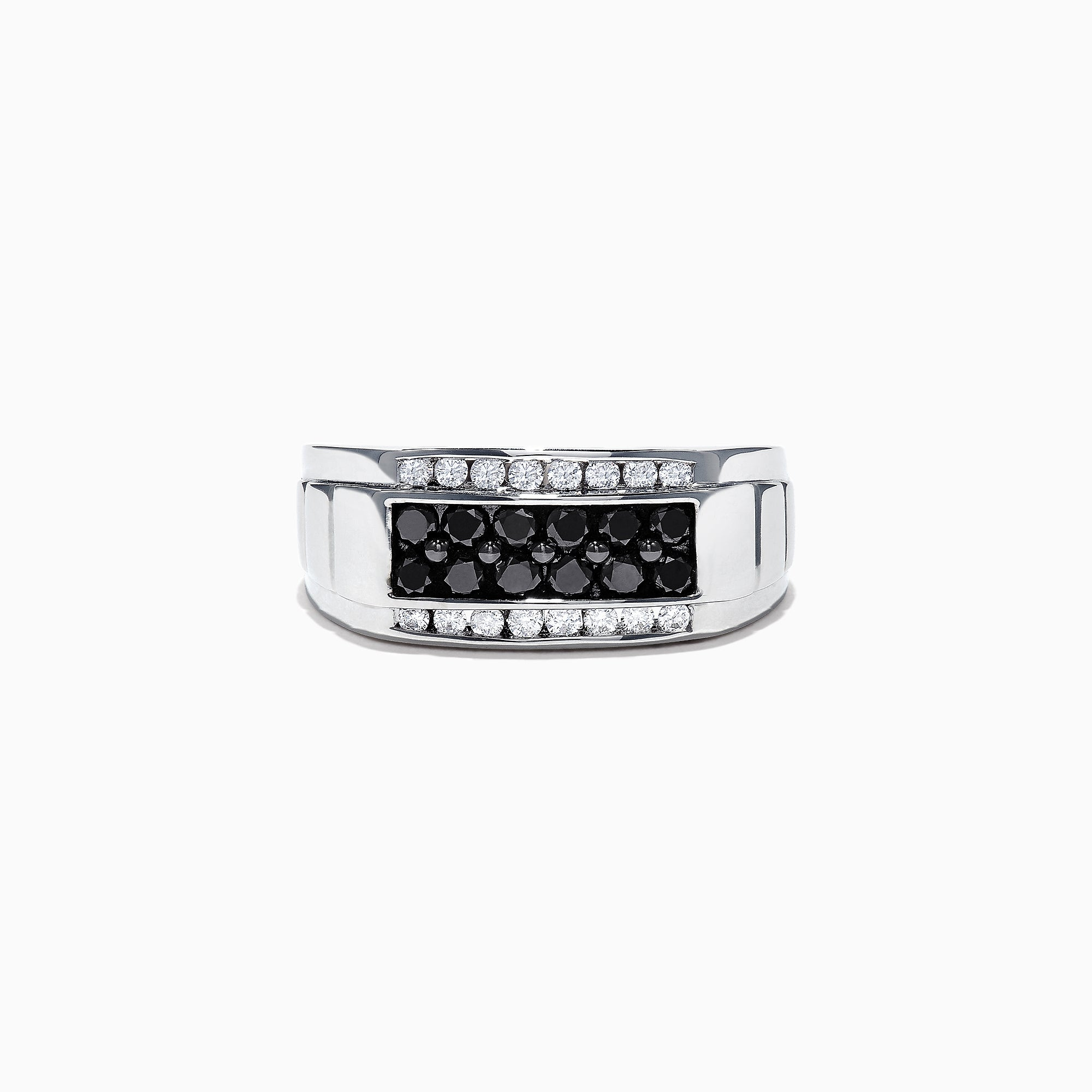 Effy Men's 14K White Gold Black and White Diamond Ring, 0.96 TCW