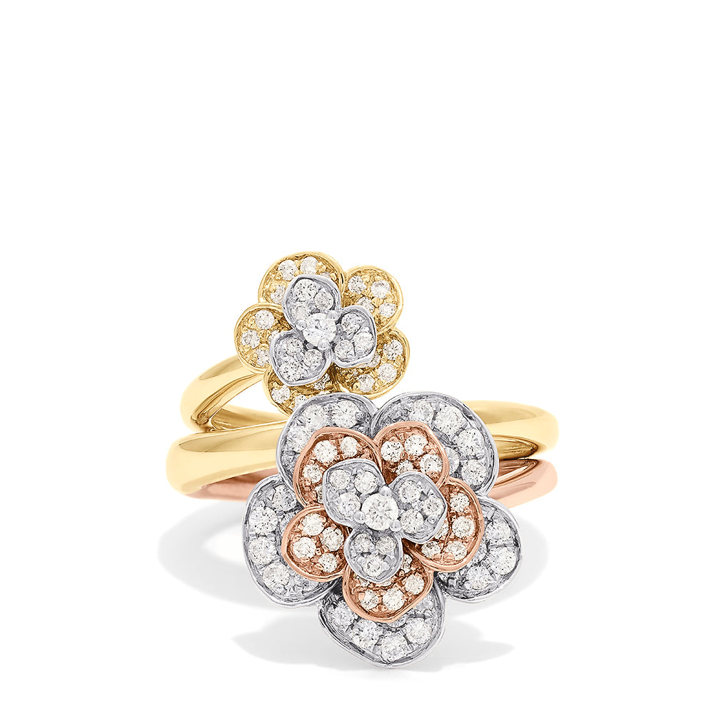 Effy Nature 14K Gold Diamond Single or Double Finger Floral Ring, 0.78 TCW