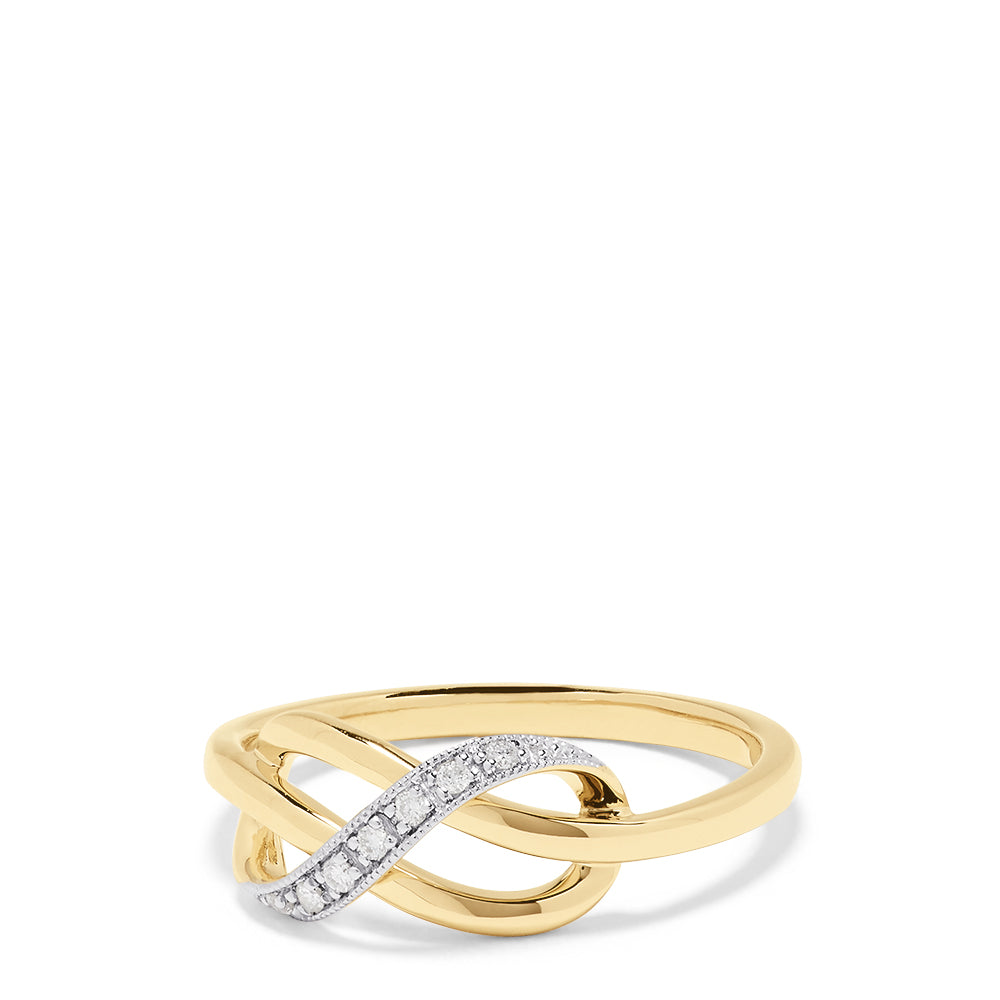 Effy D'Oro 14K Yellow Gold Diamond Knot Ring, 0.05 TCW