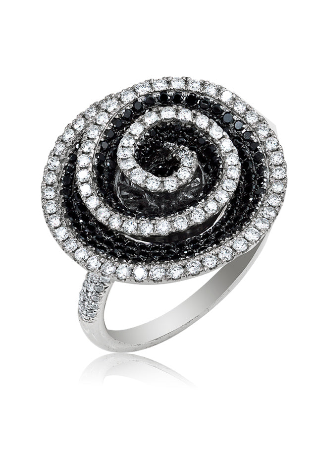 18K White Gold Black and White Diamond Ring, 1.68 TCW