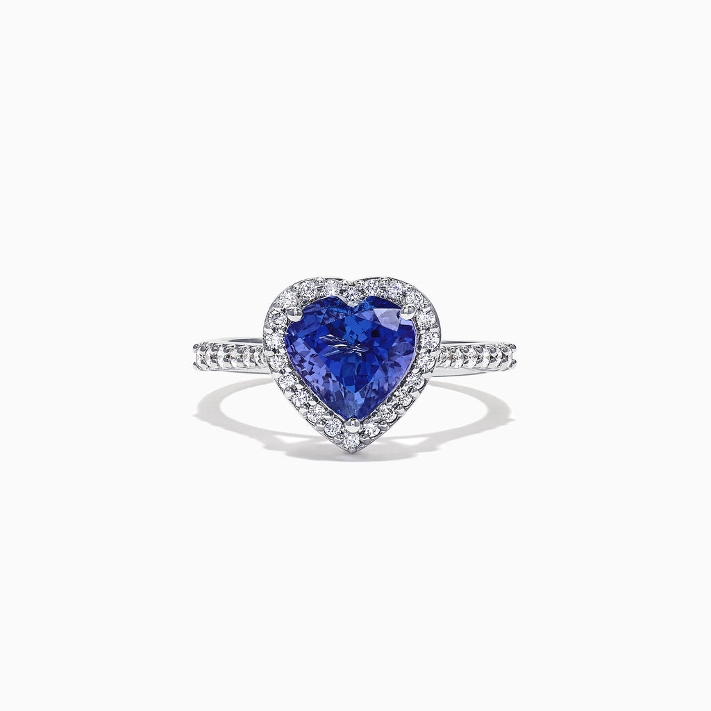 Effy Tanzanite Royale 14K White Gold Tanzanite and Diamond Heart Ring, 2.38 TCW