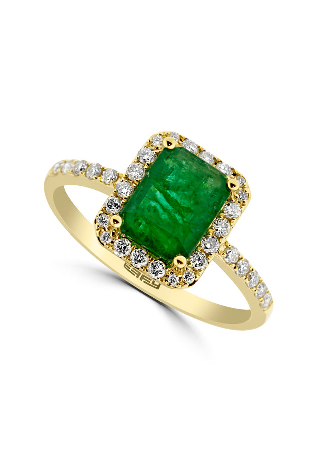 Effy 14K Yellow Gold Emerald and Diamond Ring, 1.69 TCW