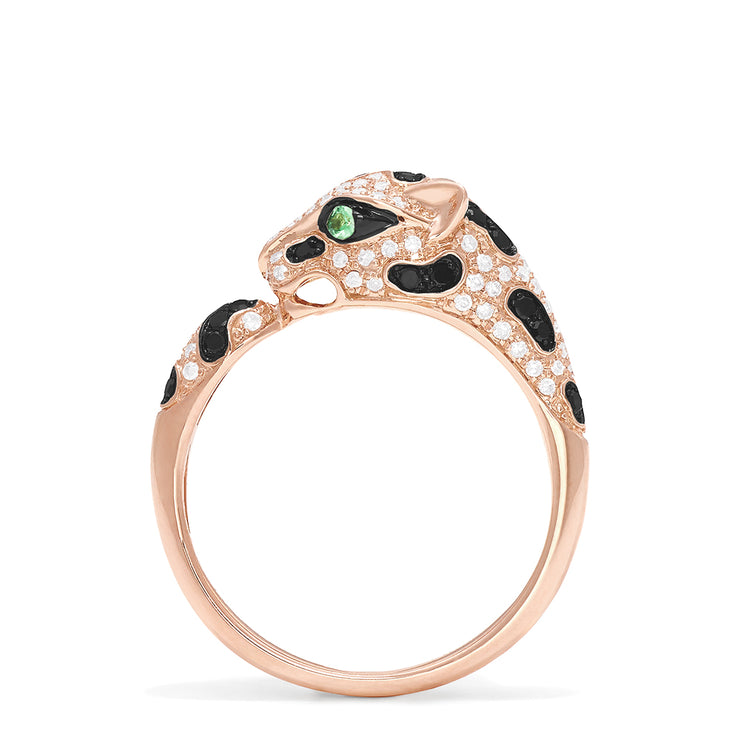 Effy Signature 14K Rose Gold Diamond and Garnet Panther Ring, 0.56 TCW