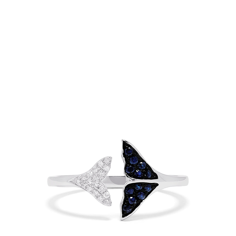 Effy Novelty 14K White Gold Sapphire and Diamond Whale Tails Ring, 0.18 TCW