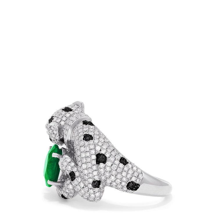 Effy Signature 14K White Gold Emerald & Diamond Panther Ring, 2.35 TCW