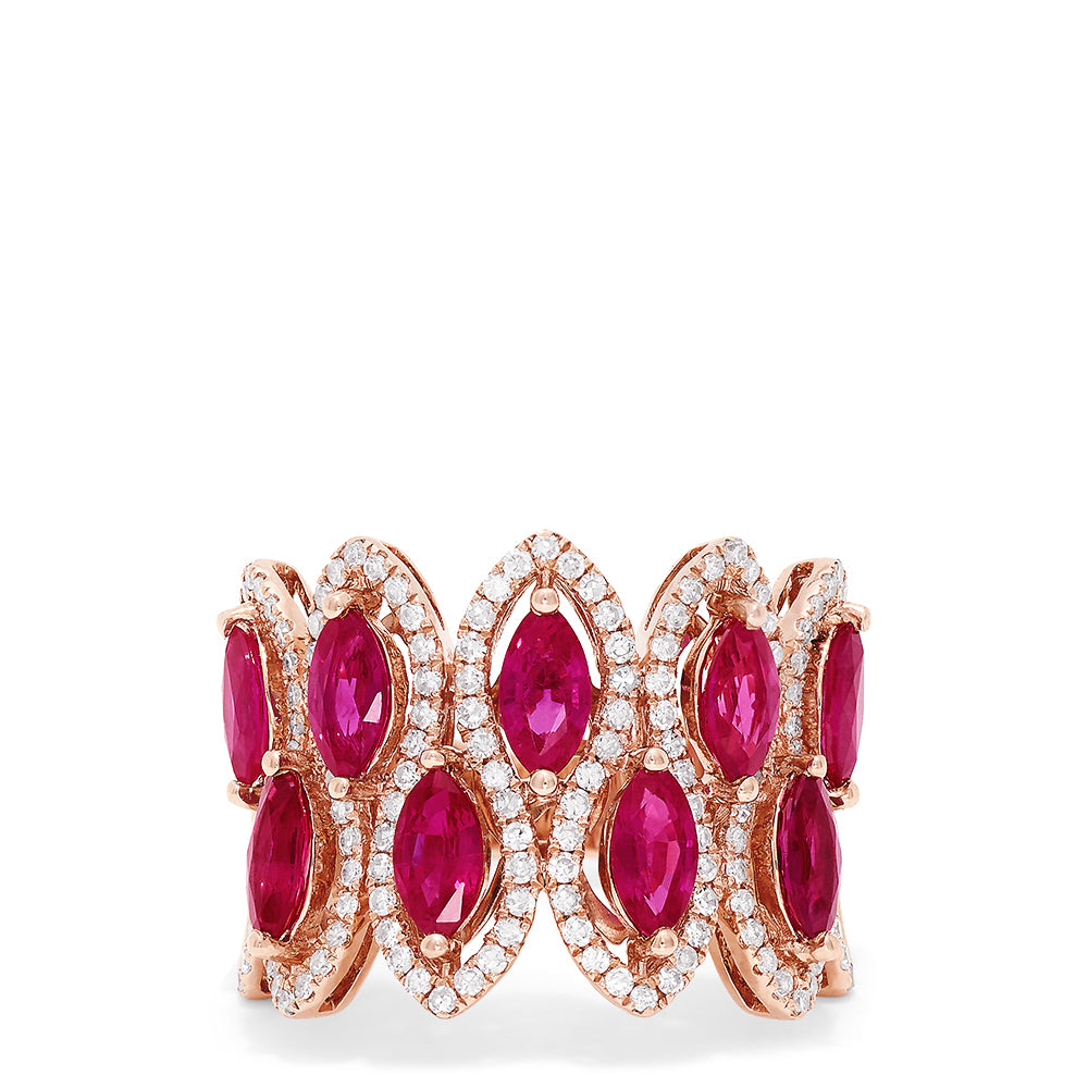 Effy Ruby Royale 14K Rose Gold Ruby and Diamond Ring, 3.76 TCW