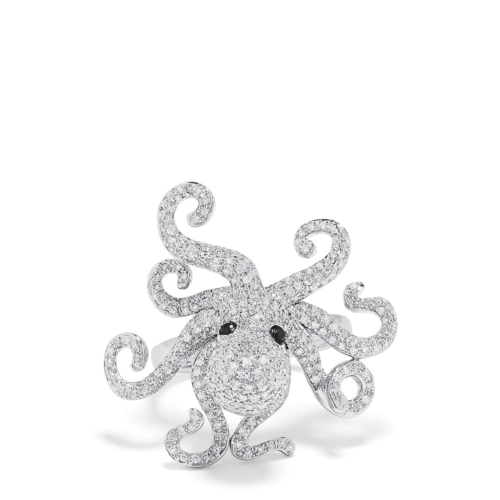 Effy Seaside 14K White Gold Diamond Octopus Ring, 1.33 TCW