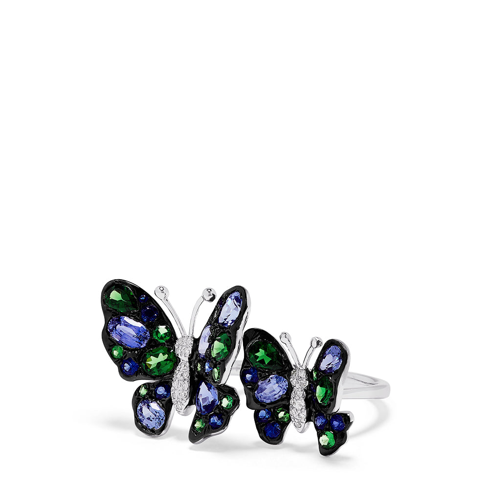 Effy Nature 14K Gold Sapphire, Tsavorite & Diamond Butterfly Ring, 3.46 TCW