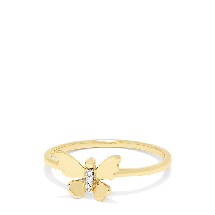 Effy Kidz 14K Yellow Gold Diamond Accented Butterfly Ring, 0.01 TCW