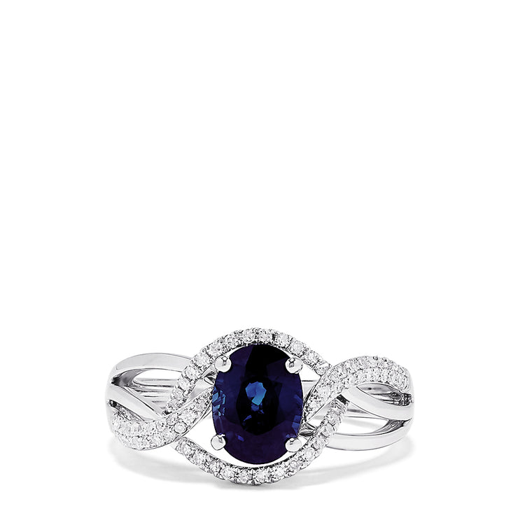 Effy Royale Bleu 14K White Gold Sapphire and Diamond Ring, 1.67 TCW