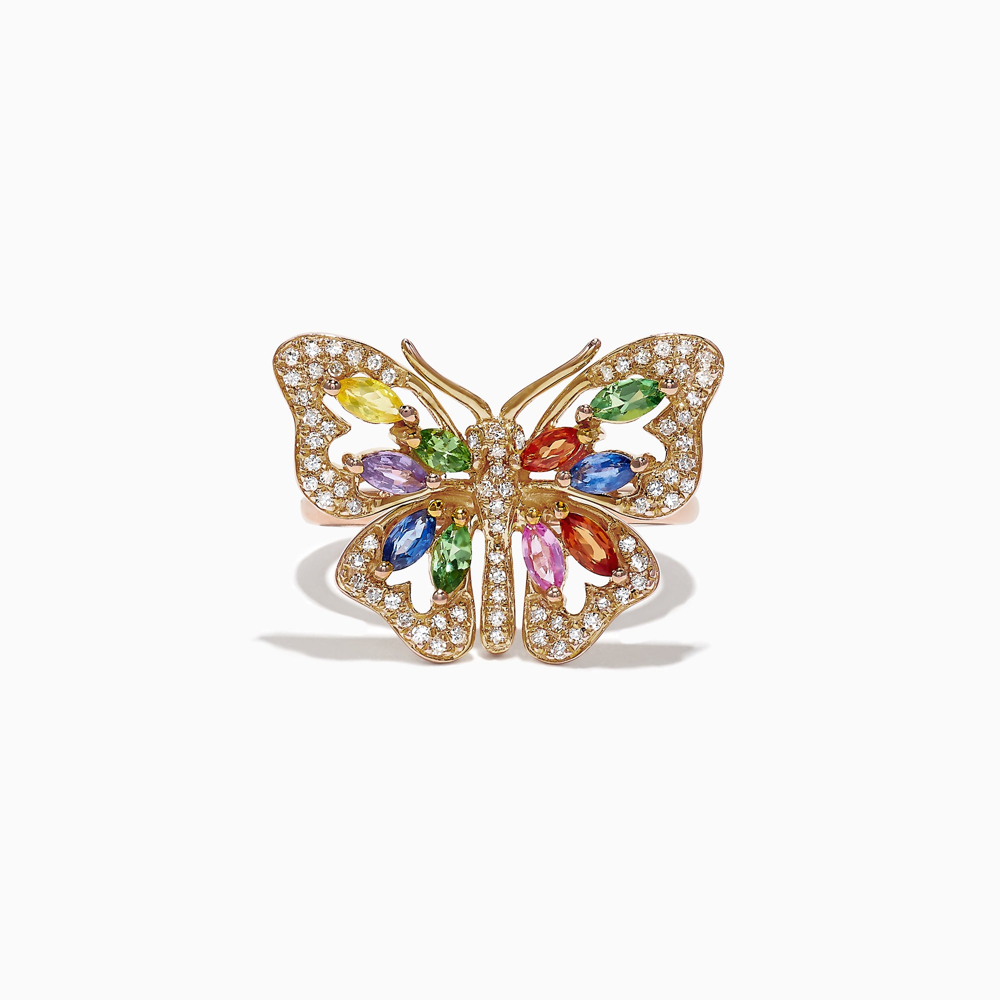 Effy Watercolors 14K Gold Multi Sapphire Diamond Butterfly Ring, 2.62 TCW