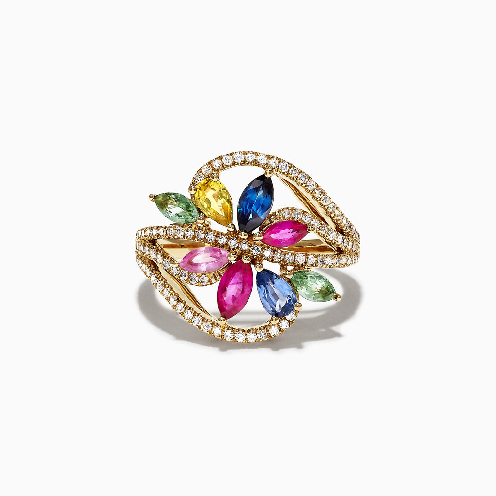 Effy Watercolors 14K Yellow Gold Multi Sapphire & Diamond Ring, 2.15 TCW