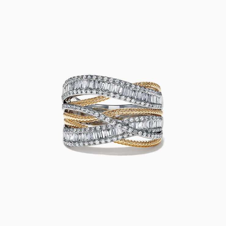Effy Duo 14K 2 Tone Gold Diamond Crossover Ring, 1.09 TCW