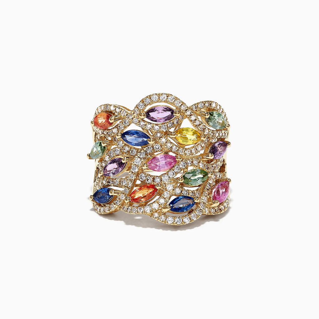 Effy Watercolors 14K Yellow Gold Multi Sapphire Diamond Ring, 3.62 TCW