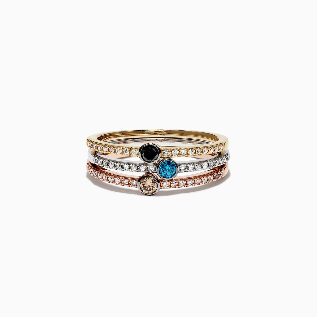 Effy Trio 14K Tri Color Gold Mixed Diamond Stack Ring, 0.49 TCW