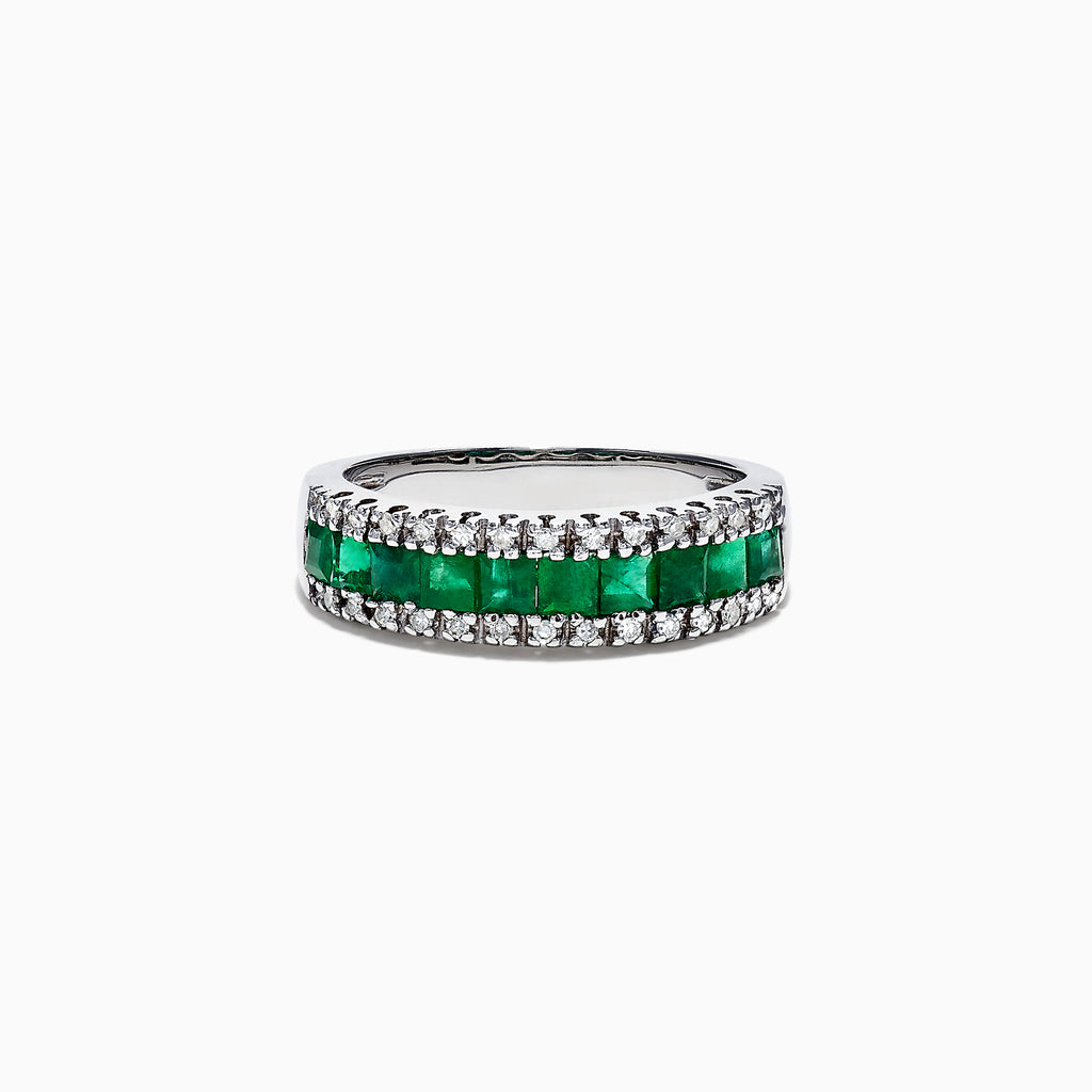 Effy Brasilica 14K White Gold Emerald and Diamond Band Ring, 1.27 TCW