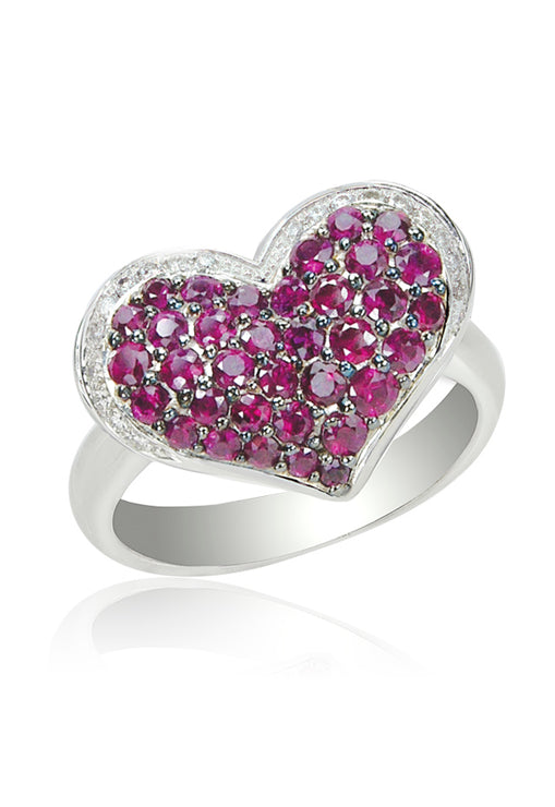 Effy 14K White Gold Ruby and Diamond Heart Ring, 1.32 TCW