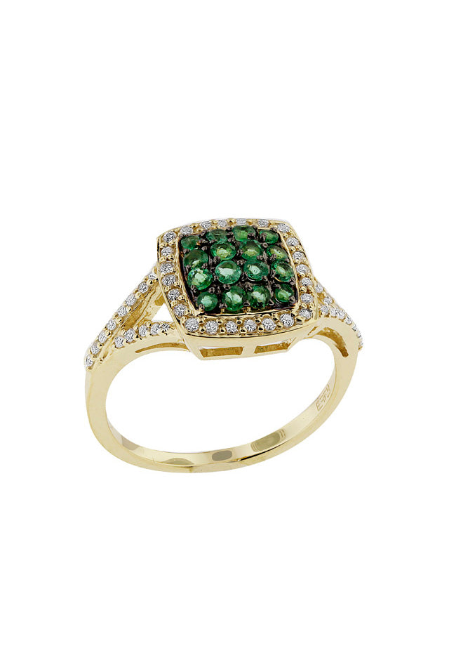 14K Yellow Gold Emerald and Diamond Ring, .69 TCW