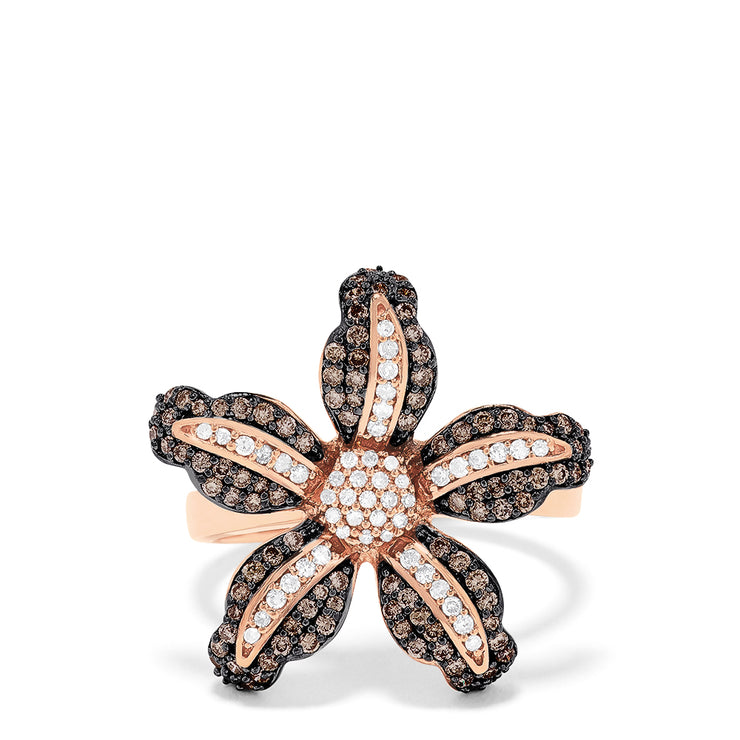 Effy 14K Rose Gold Espresso and White Diamond Flower Ring, 0.74 TCW