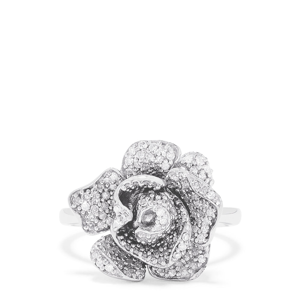 Effy 14K White Gold Diamond Rose Ring, 0.64 TCW