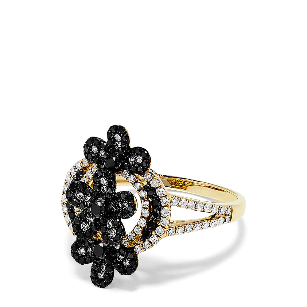 Effy 14K Yellow Gold Black and White Diamond Triple Flower Ring, 0.99 TCW