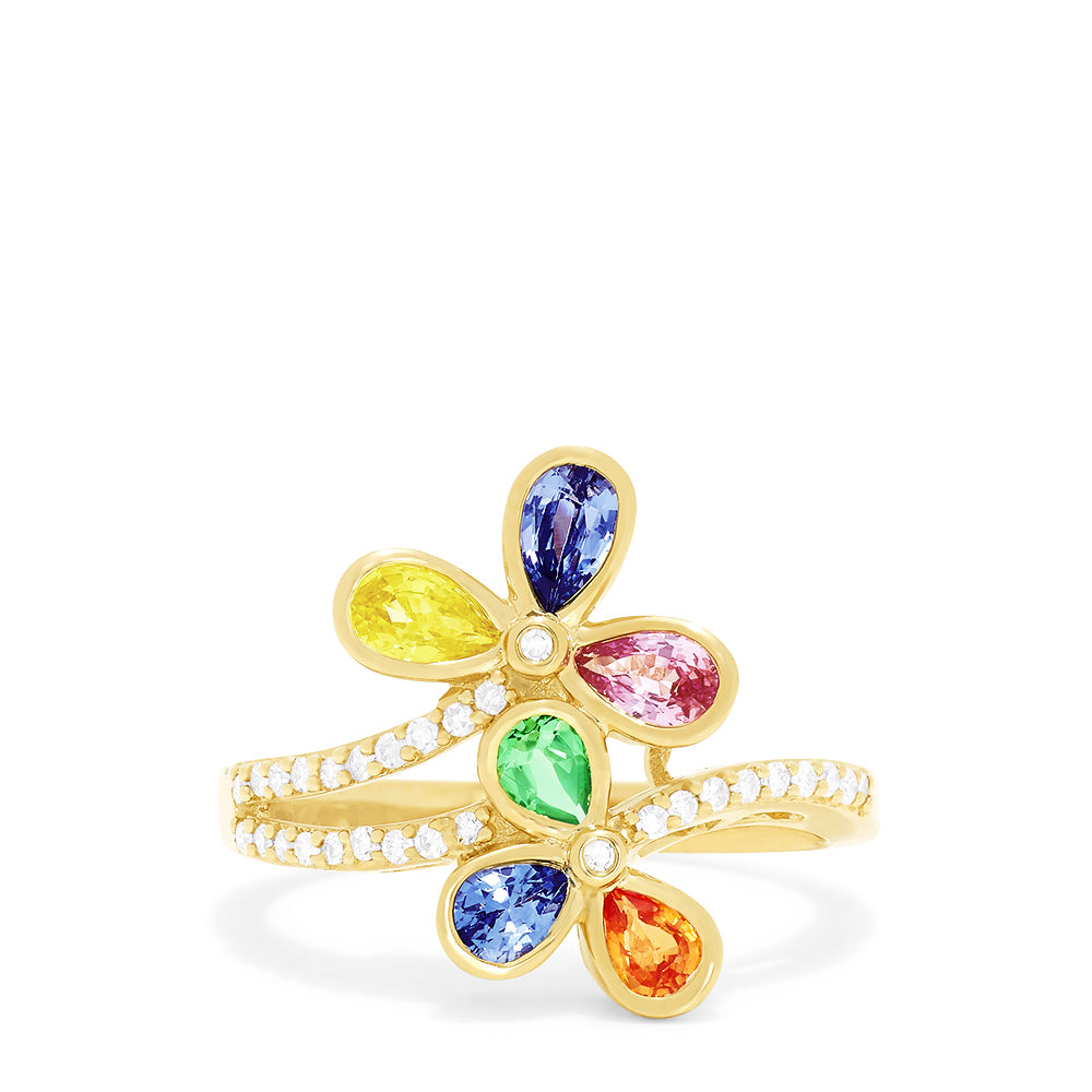 Effy Watercolors 14K Yellow Gold Multi Sapphire and Diamond Ring, 1.72 TCW