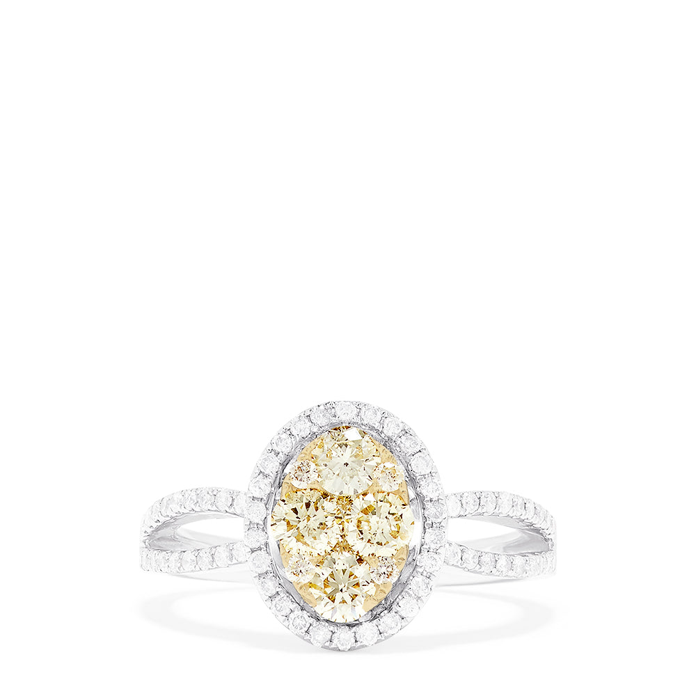 Effy 14K Two Tone Gold Yellow and White Diamond Ring, 1.12 TCW