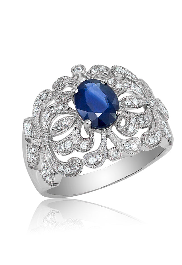 14K White Gold Blue Sapphire and Diamond Ring, 1.71 TCW