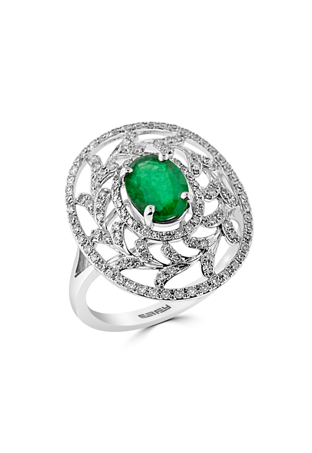 Effy 14K White Gold Emerald and Diamond Ring, 1.62 TCW