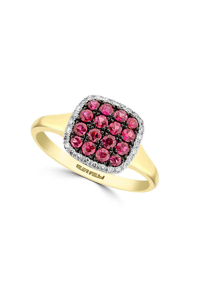 Effy 14K Yellow Gold Ruby and Diamond Ring, 0.66 TCW