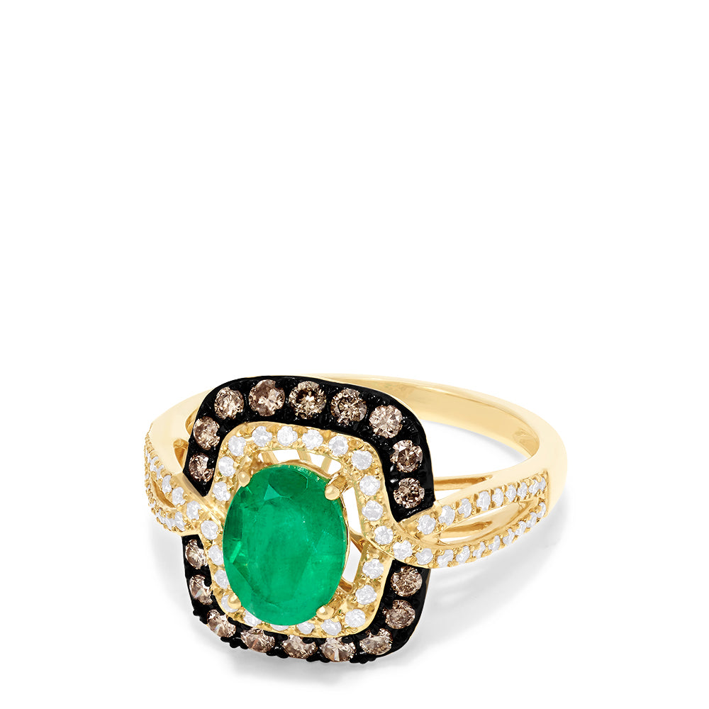 Effy Brasilica 14K Yellow Gold Emerald, Cognac & White Diamond Ring, 1.70 TCW